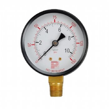 Black steel case pressure gauge