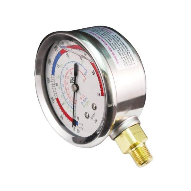 Stainless steel refrigerant gauge