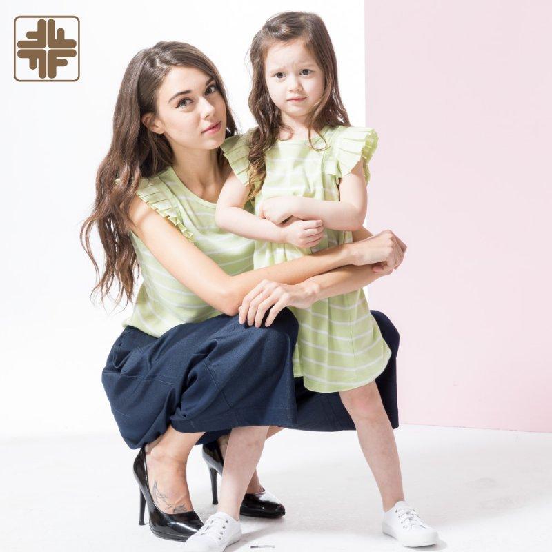 Family Matching Set Stripe Pleated Sleeve Wearing