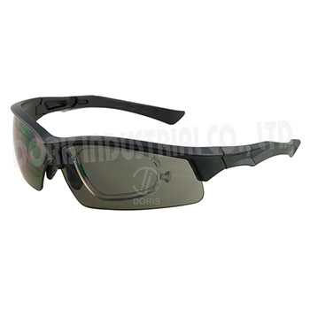 Half frame safety glasses with removable rx inserts available
