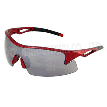 Half frame safety eyewear with one piece wide coverage lens