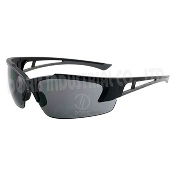 Half frame sunglasses with temple ventilation