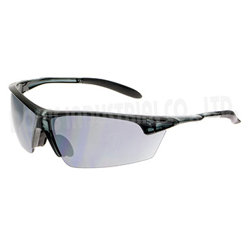Stylish half-frame safety eyewear with translucent frame and temples