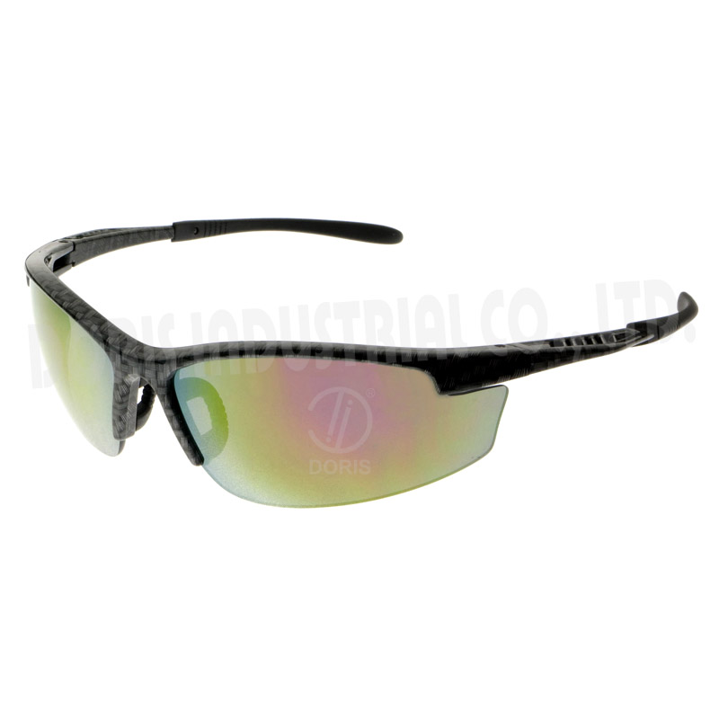 Half frame safety eyewear with vented temples