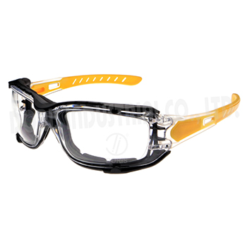 Safety eye protective glasses with a removable foam gasket