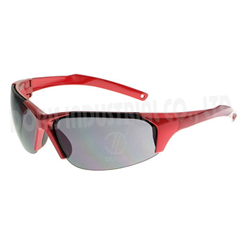 Half frame safety eyewear with glossy frame and temple