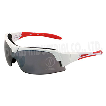 Half frame safety spectacles with interchangeable temples and strap