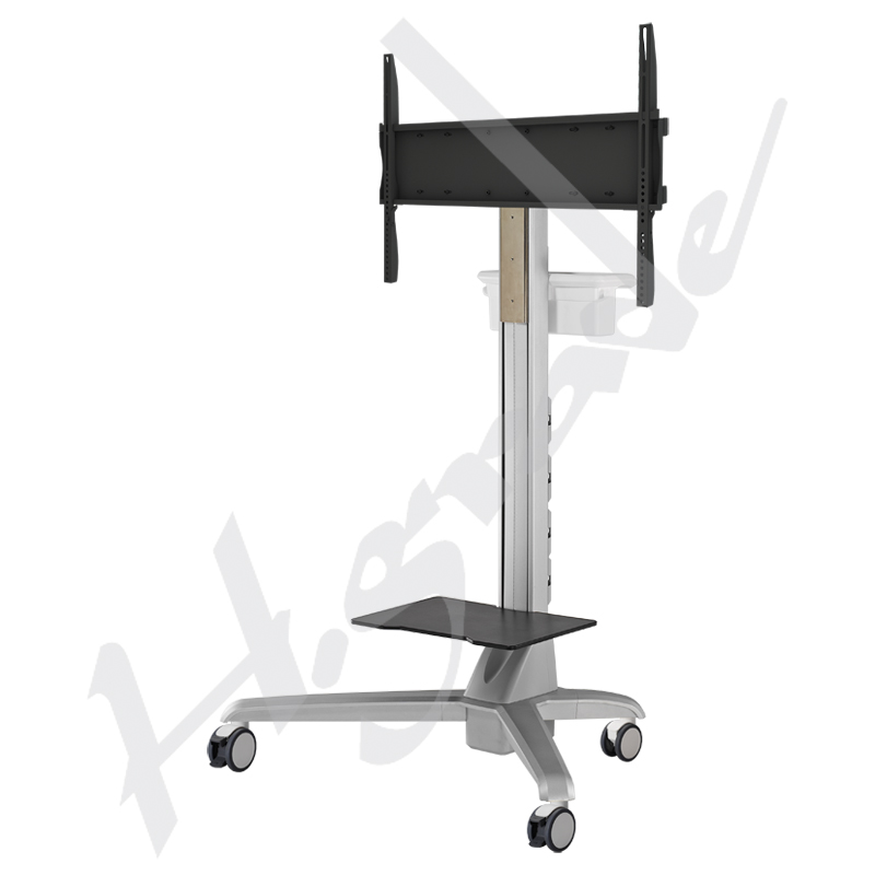 Electrical Lift Conference Mobile Display Trolley Cart with Documents Basket Handle and Tray
