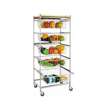 Five-Drawer Basket Utility Cart
