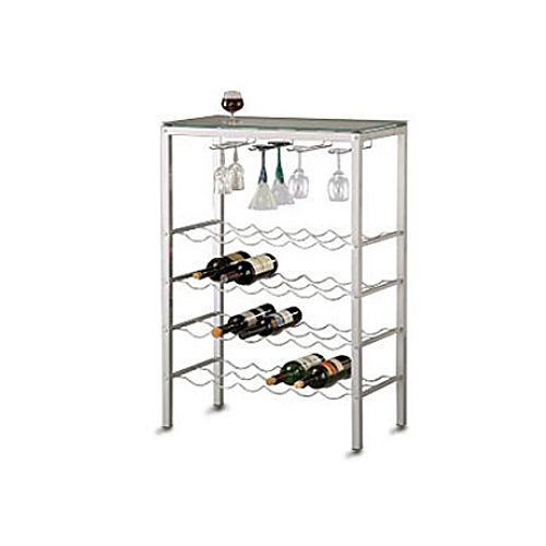 Wine Rack - Four-Shelf Wire with Top Glass