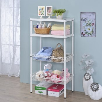 Metal Shelf & Wire Baskets Holder