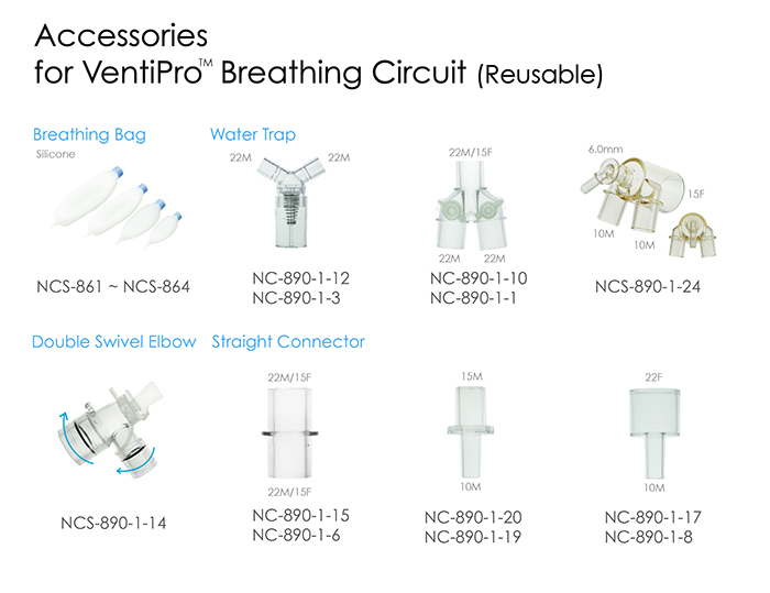 Circuit Brain Reusable : Accessories for ventipro™ reusable breathing circuit non